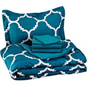 AmazonBasics 5-Piece Light-Weight Microfiber Bed-In-A-Bag Comforter Beddign Set - Twin / Twin XL, Teal Trellis