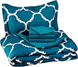 AmazonBasics 5-Piece Bed-In-A-Bag, Twin / Twin Extra-Long Bedding Comforter Sheet Set, Teal Trellis
