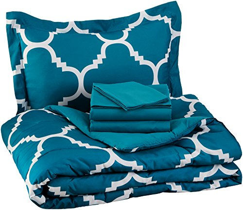 Bed Complete Make (AmazonBasics 5-Piece Bed-In-A-Bag - Twin/Twin Extra-Long, Teal Trellis)