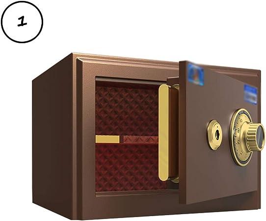 Caja Fuerte Cerraduras de Acero de Alta Seguridad Cajas Fuertes y Cajas de Cerradura, Hucha, Marrón Oscuro, 25x35x30cm: Amazon.es: Hogar