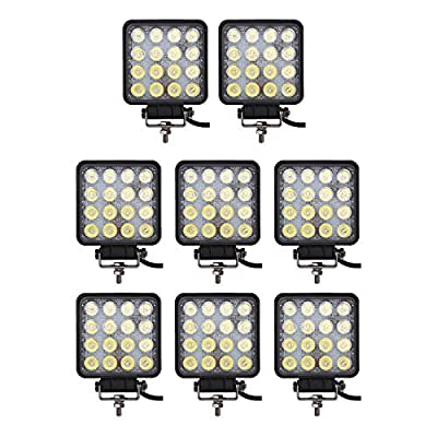 Light Bar Glotech [8Pack] 48W 4inch Square Led Work Lights Flood Beam Off Road Led Fog Lights Waterproof Driving Tractor Lamp for Trucks Jeep Boat Fishing Motorcycle: Automotive