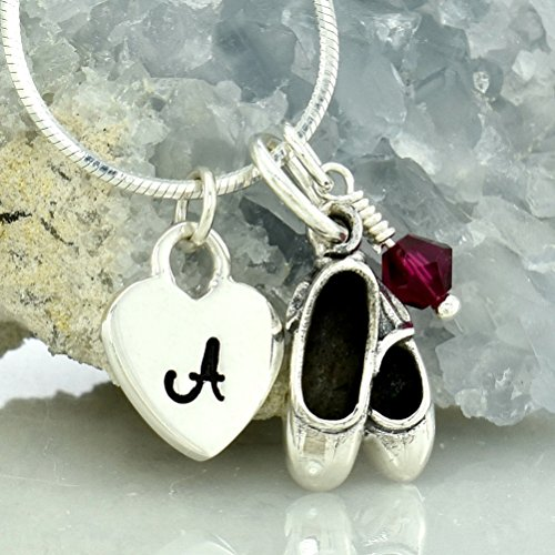 Customizable Ballet Shoes Slippers Necklace 925 Sterling Silver Custom Pendant Hand Stamped Initial Letter Heart Sparkling Crystal Birthstone Charm Chain Personalized Pendant Gift Jewelry ()