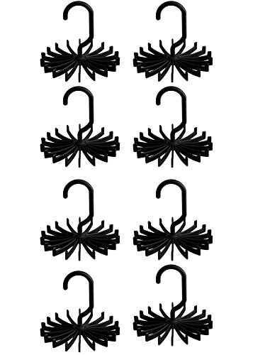"MorningRising 8 PCS Black 360 Degree Rotating Scarf Hanger Adjustable Twirl Tie Rack Tie Belt,Multipurpose Organizer,Hook Ties Scarf for Closet Storage (4.4"")"