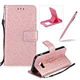 Wallet Case for Samsung Galaxy A3 2017 A320,Strap Flip Case for Samsung Galaxy A3 2017 A320,Herzzer Retro Elegant [Rose Gold Mandala Flower Pattern] Stand Function Magnetic Smart Leather Case with Soft Inner for Samsung Galaxy A3 2017 A320 + 1 x Free Pink Cellphone Kickstand + 1 x Free Pink Stylus Pen