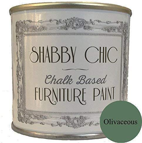Shabby Chic Chalk Based Furniture Paint - Olivaceous 250ml - Chalked, Use on Wood, Stone, Brick, Metal, Plaster or Plastic, No Primer Needed, Made in The UK.