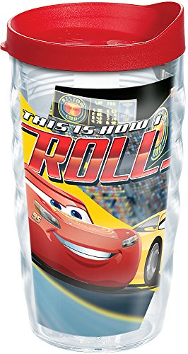(Tervis 1250200 DisneyPixar - Cars 3 How I Roll Insulated Tumbler with Wrap and Red Lid, 10 oz, Clear)