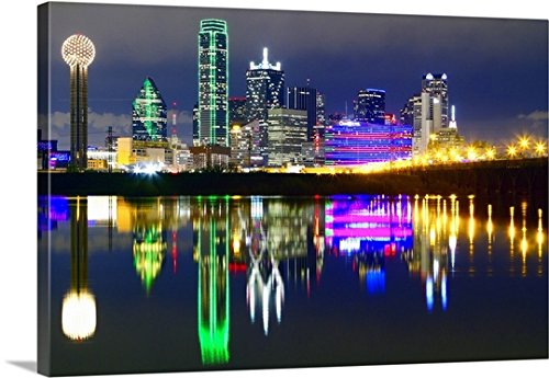 Canvas On Demand Premium Thick-Wrap Canvas Wall Art Print entitled Downtown Dallas skyline reflections in the Trinity River - Cities Gulf Texas The On