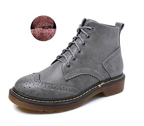 Minotta Women's Faux Fur Lining Winter Warm Perforated Laces Wingtip Classic Dress Shoes Snow Boots Grey KOtrc