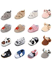 Infant Baby Non Skid Adjustable Slippers Boys Girls Fleece Booties with Grippers Cartoon Moccasins Socks Frist Crib Shoes