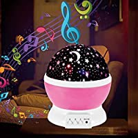 LED Night Lights Romantic Rotating Star Moon Sky Rotation Night Projector Light Lamp-Pink.
