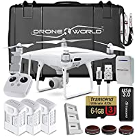 DJI Phantom 4 Pro Drone Professional Executive Kit w/ Custom Wheeled Case, 3 Batteries, Triple Battery Charging Hub, Filters, 64GB Card, Remote Lanyard, Lens Filters, iPhone Cable and More