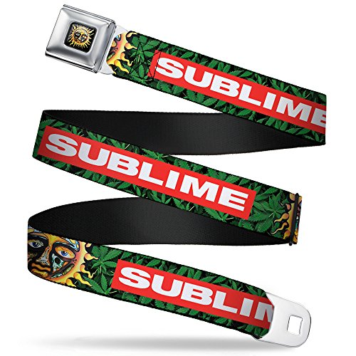 Buckle-Down Seatbelt Belt - SUBLIME/Sun Marijuana Leaves Greens/Red/White - 1.0