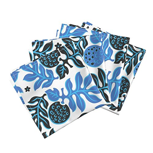 Roostery Tiki Tropical Beach Ocean Adventure Hawaii Blue Organic Sateen Dinner Napkins Breadfruit 3E by Muhlenkott Set of 4 Dinner Napkins by Roostery