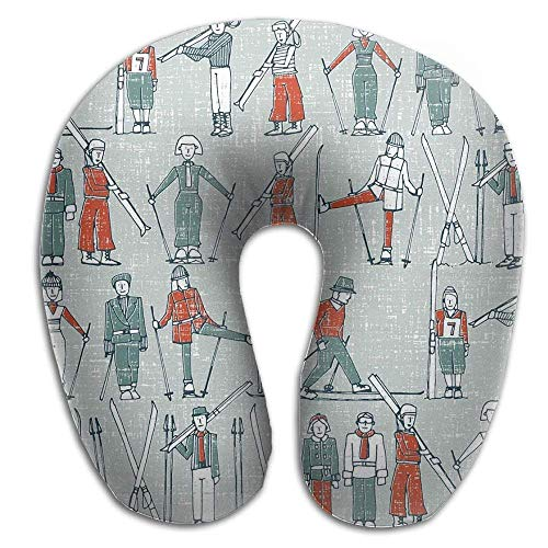 LLuotryce Neck Pillow with Resilient Material Skiing Game U Type Support Rest Outdoors Car Office Home Travel ()