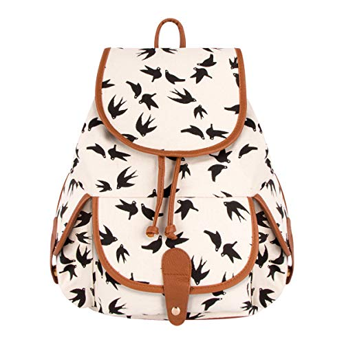 Canvas Retro Shoulder Bag Floral Printed Leisure Swallow FL1 White Backpack Travel Xidan UXxTwA4f