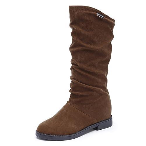 Botas de mujer Botines Señoras Otoño invierno Dulce con estilo Plano Rebaño Sólido Casual Zapatos Botas