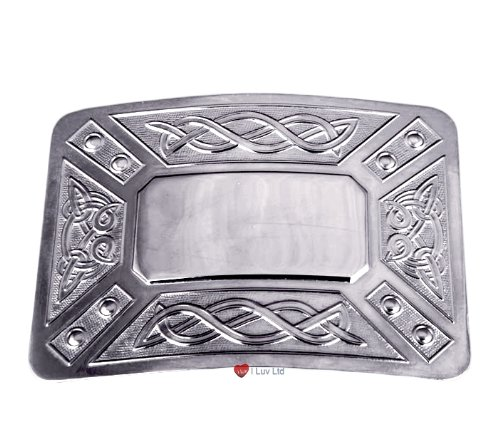 Kilt Buckle Celtic Panels Polished Centre