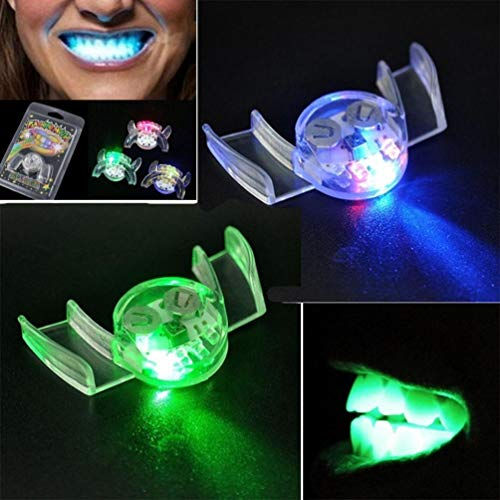 LED Flashing Teeth Dentures Horror Activities Luminous Fluorescent Dentures Props for Best Halloween Decoration and Spookiest Graveyard Scene (2 Pcs) (Clear)