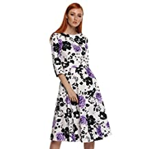 ACEVOG 50s Hepburn Style Vintage Long Sleeve Floral Party Cocktail Evening Dress