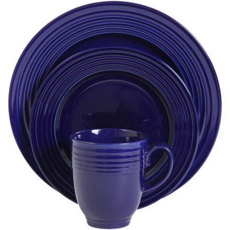 Stanza 16万能ディナー食器セットソリッド印刷パターン食洗機電子レンジ対応ラウンド ブルー B07DYG8Y4G  コバルト
