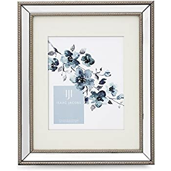 isaac jacobs mirror bead frame 11x14 8x10 mat silver - Mirror Picture Frame