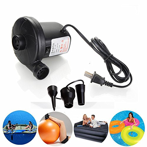 Portable Electric Air Pump for Inflatable Floats Air Mattress Pool Toy Air Flow -120 Volt Ac Quick-fill Design with Three Nozzles