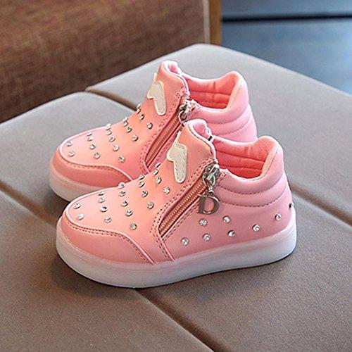 Kinder LED leuchten leuchtende Turnschuhe cinnamou Baby-Kind-Säuglingsmode-zufällige Sport-im Freien Zip Crystal Shoes Rosa