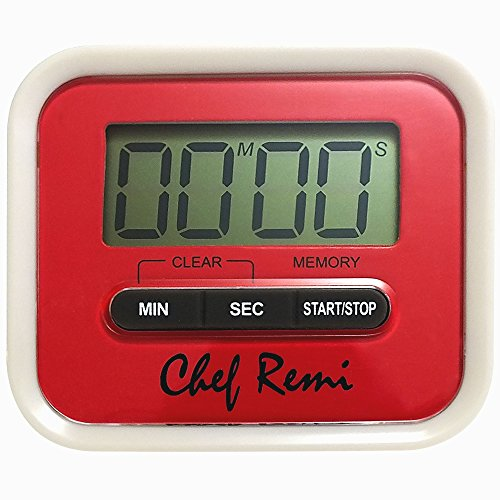 Chef Remi Digital Kitchen Food / Oven / Egg Timer. Loud Alarm, Big Digits, Magnetic Backing, Manual Included. Other Uses Include Kids Homework, Classroom Use, Exercising, Meetings, Breaks When Working (Portable Egg Washer compare prices)