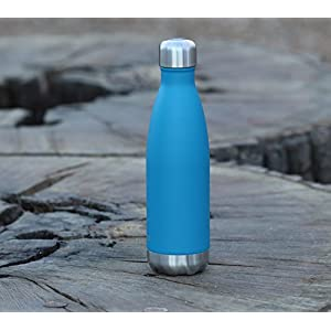 MIRA 17 Oz Stainless Steel Vacuum Insulated Water Bottle | Leak-proof Double Walled Powder Coated Cola Shape Bottle | Keeps Drinks Cold for 24 hours & Hot for 12 hours | 500 ml Hawaiian Blue