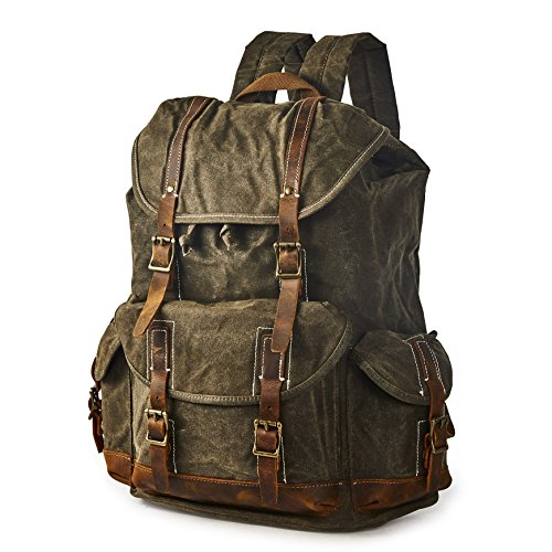 BRASS TACKS Leathercraft Men's Heavy Duty Waxed Canvas Vintage Backpack Genuine Leather Trim Casual 15.6