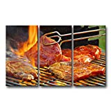 So Crazy Art 3 Piece Wall Art Painting Meat Barbecue On Fire Pictures Prints On Canvas Food The Picture Decor Oil For Home Modern Decoration Print