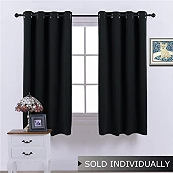 NICETOWN Black Out Window Curtain Panel - (Black Color) Thermal Insulated Modern Window Coveing Soundproof Drape Panel for Bedroom, W52 x L63 Inch, 8 Grommets Top, 1 Piece