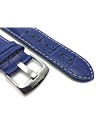 22mm Royal Blue Mens' Alligator Style Genuine Leather Watch Strap Band, With White Stitching