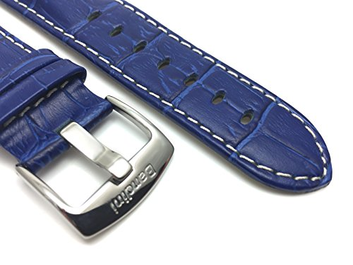 20mm-Royal-Blue-Mens-Alligator-Style-Genuine-Leather-Watch-Strap-Band-With-White-Stitching