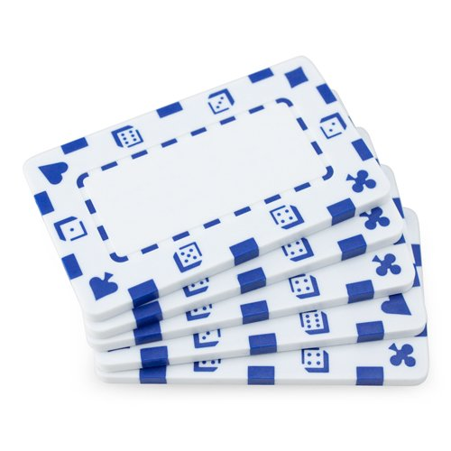 5 Rectangular Poker Chips - European Style Plaque by Brybelly (White)