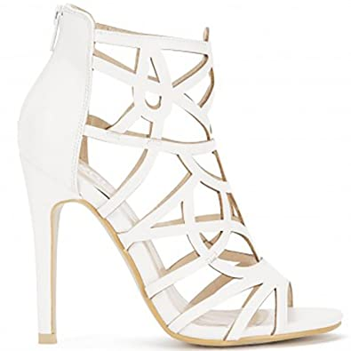 730b8b7efca0 Shoe Closet White PU Laser Cut Ankle High Cut Out Strappy Sandals Stilettos Peep  Toes High