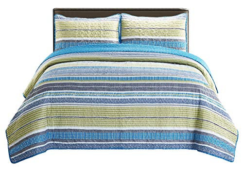 SLPR Day at The Cape 3-Piece Lightweight Printed Quilt Set (Queen) 2 Shams Pre-Washed All-Season Machine Washable Bedspread Coverlet (Quilt Day)