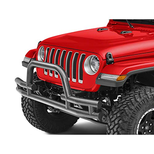 Barricade Tubular Front Bumper with Winch Cutout - Textured Black - for Jeep Wrangler JL 2018-2019