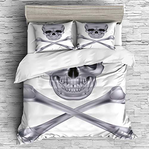 (3 Pieces (1 Duvet Cover 2 Pillow Shams)/All Seasons/Home Comforter Bedding Sets Duvet Cover Sets for Adult Kids/Queen/Silver,Vivid Skull and Crossbones Dangerous Scary Dead Skeleton Evil Face)