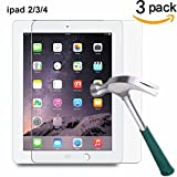 iPad 2 3 4 Screen Protector,TANTEK [HD-Clear][Anti-Scratch][Anti-Glare][Anti-Fingerprint] Tempered Glass Screen Protector for Apple iPad 2 / iPad 3 / iPad 4 (9.7 inch),-[3Pack]