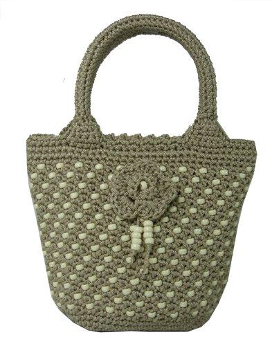 Cream Tole (Naree Casual Classics Crochet Bag - Black Cream Blue (tote bag - bark color))