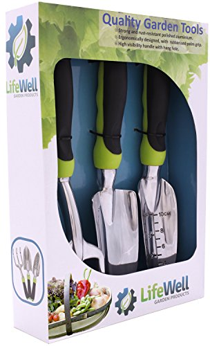 Sunday Set Palm (3-Piece Garden Tool Set. No More Sore Hands & The Toughest Gardening Tools You'll Ever Buy! Perfect Christmas Gift. Set Includes Trowel, Transplanter, Rake / Cultivator PLUS Growing Tips E-Book.)
