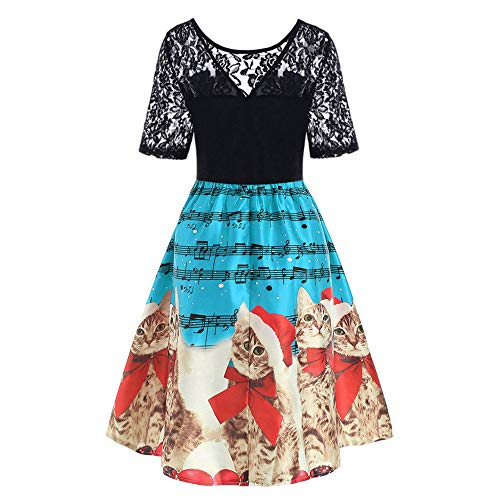 Landfox Cocktail Dress, Christmas Dress for Women,Ladies Vintage Christmas Print Evening Party Dress Prom Swing Dress Blue ()