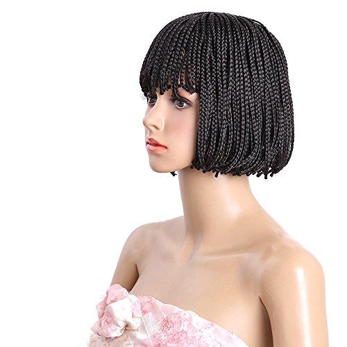 Cheap Bob Wigs (10-12 Inch Synthetic Short Box Braid Wigs Straight Short Hair Bob Wigs with Flat Bangs Cheap Black Bob Wig Synthetic Womens Wigs for Black Women (10 Inch, Black))