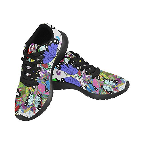 InterestPrint Graphic Running Pattern Size Lightweight 6 Athletic Flowers Women's US Sneakers Shoes Casual and Butterflies 15 RfnqRF
