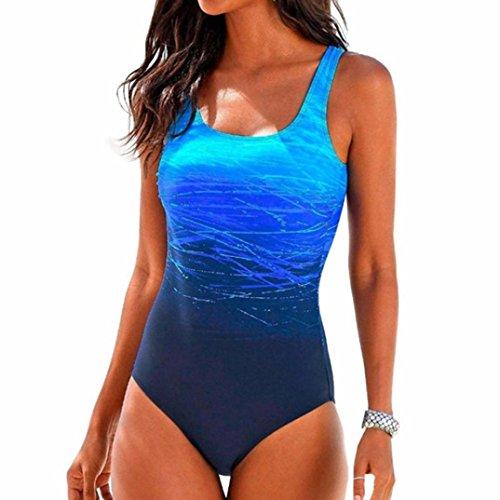 Price comparison product image Caopixx Swimsuit for Women,  Womens Swimming Print Padded Beachwear Monokini Push up Bikini Sets One Pieces Swimwear (Asia Size L,  Blue)