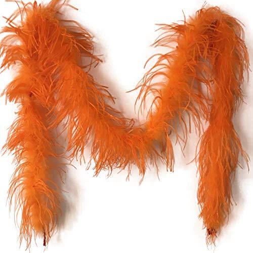Sowder 72inch Length 1ply Ostrich Feather Boa for Wedding/Party Decoration, Feather Scraf(Orange)