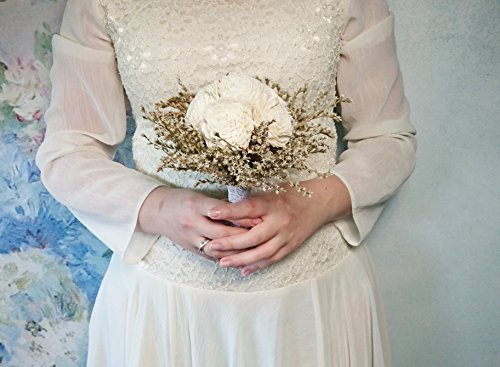 Small Rustic Wedding Bridesmaids Bouquets Made of Ivory Flowers Dried Limonium Burlap Lace and Pearl Pins