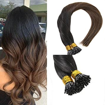 Amazon sunny 14inch i tip remy human hair extensions ombre sunny 14inch i tip remy human hair extensions ombre color natural black to chocolate brown i pmusecretfo Choice Image