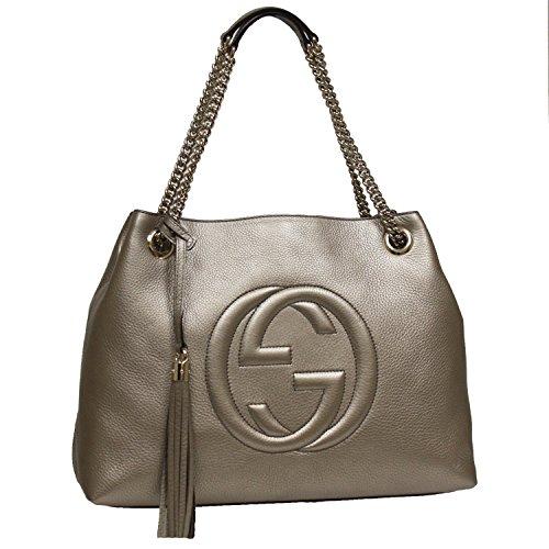 Gucci Soho Interlocking GG Golden Metallic Beige Chain Shoulder Handbag 308982 9524 (Gucci Bag)